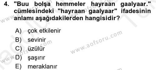 Çağdaş Türk Yazı Dilleri 1 Dersi 2015 - 2016 Yılı Tek Ders Sınav Soruları 4. Soru