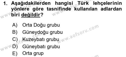Çağdaş Türk Yazı Dilleri 1 Dersi 2016 - 2017 Yılı 3 Ders Sınav Soruları 1. Soru