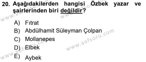 Çağdaş Türk Yazı Dilleri 1 Dersi 3 Ders Sınavı Deneme Sınav Soruları 20. Soru