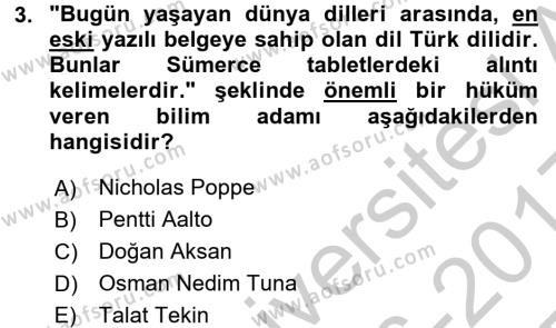 Çağdaş Türk Yazı Dilleri 1 Dersi 3 Ders Sınavı Deneme Sınav Soruları 3. Soru