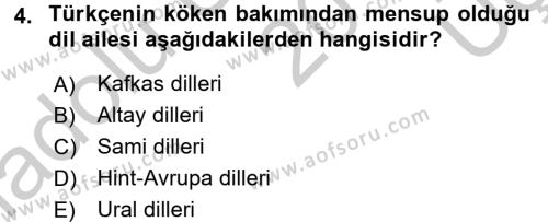 Çağdaş Türk Yazı Dilleri 1 Dersi 2016 - 2017 Yılı 3 Ders Sınav Soruları 4. Soru