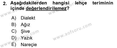 Çağdaş Türk Yazı Dilleri 1 Dersi 2017 - 2018 Yılı (Vize) Ara Sınav Soruları 2. Soru