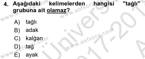 Çağdaş Türk Yazı Dilleri 1 Dersi 2017 - 2018 Yılı (Vize) Ara Sınav Soruları 4. Soru
