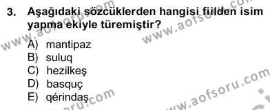 Çağdaş Türk Yazı Dilleri 2 Dersi 2012 - 2013 Yılı Ara Sınavı 3. Soru