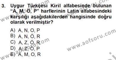 Çağdaş Türk Yazı Dilleri 2 Dersi 2012 - 2013 Yılı Dönem Sonu Sınavı 3. Soru