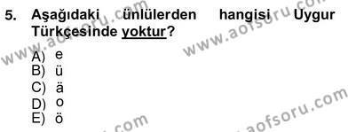 Türk Dili ve Edebiyatı Bölümü 6. Yarıyıl Çağdaş Türk Yazı Dilleri II Dersi 2014 Yılı Bahar Dönemi Ara Sınavı 5. Soru