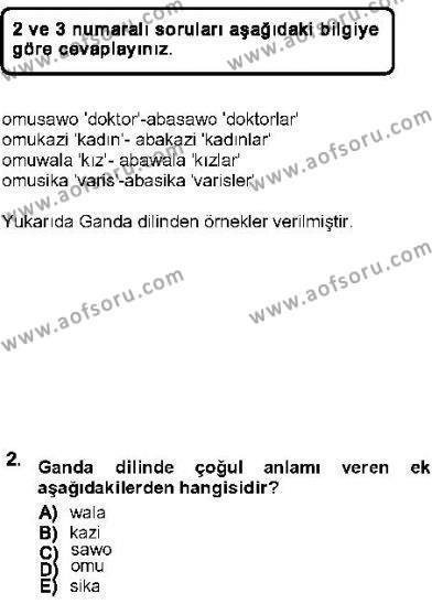 Türk Dili ve Edebiyatı Bölümü 5. Yarıyıl Genel Dilbilim I Dersi 2013 Yılı Güz Dönemi Ara Sınavı 2. Soru