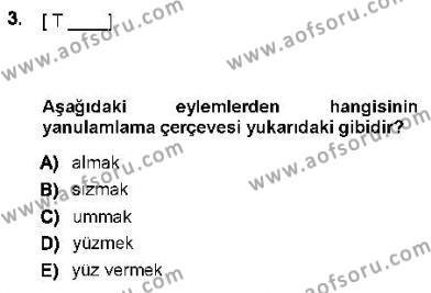 Genel Dilbilim 1 Dersi 2012 - 2013 Yılı (Final) Dönem Sonu Sınav Soruları 3. Soru