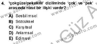 Türk Dili ve Edebiyatı Bölümü 5. Yarıyıl Genel Dilbilim I Dersi 2014 Yılı Güz Dönemi Ara Sınavı 4. Soru