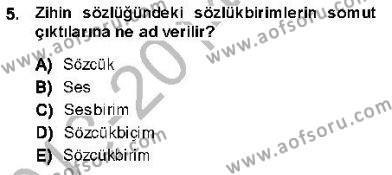 Türk Dili ve Edebiyatı Bölümü 5. Yarıyıl Genel Dilbilim I Dersi 2014 Yılı Güz Dönemi Ara Sınavı 5. Soru