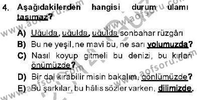 Türk Dili ve Edebiyatı Bölümü 5. Yarıyıl Genel Dilbilim I Dersi 2014 Yılı Güz Dönemi Dönem Sonu Sınavı 4. Soru