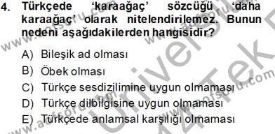 Türk Dili ve Edebiyatı Bölümü 5. Yarıyıl Genel Dilbilim I Dersi 2014 Yılı Güz Dönemi Tek Ders Sınavı 4. Soru