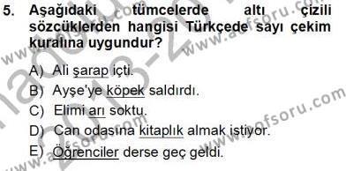 Türk Dili ve Edebiyatı Bölümü 5. Yarıyıl Genel Dilbilim I Dersi 2014 Yılı Güz Dönemi Tek Ders Sınavı 5. Soru