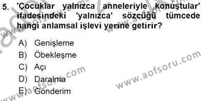 Türk Dili ve Edebiyatı Bölümü 5. Yarıyıl Genel Dilbilim I Dersi 2016 Yılı Güz Dönemi Ara Sınavı 5. Soru