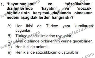 Genel Dilbilim 1 Dersi 2015 - 2016 Yılı Dönem Sonu Sınavı 1. Soru