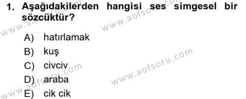 Genel Dilbilim 1 Dersi 2017 - 2018 Yılı (Vize) Ara Sınav Soruları 1. Soru