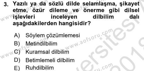Genel Dilbilim 1 Dersi 2017 - 2018 Yılı (Vize) Ara Sınav Soruları 3. Soru