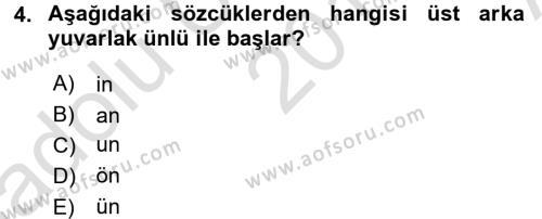 Genel Dilbilim 1 Dersi 2017 - 2018 Yılı (Vize) Ara Sınav Soruları 4. Soru