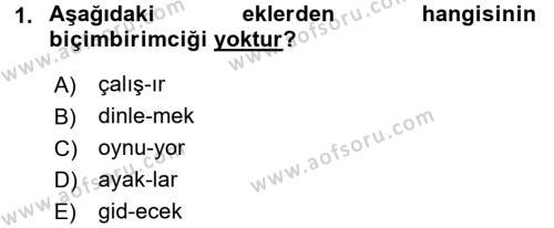Genel Dilbilim 1 Dersi 2017 - 2018 Yılı (Final) Dönem Sonu Sınav Soruları 1. Soru