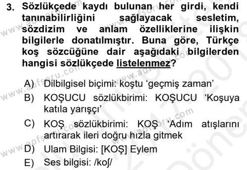 Genel Dilbilim 1 Dersi 2017 - 2018 Yılı (Final) Dönem Sonu Sınav Soruları 3. Soru