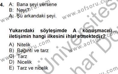 Türk Dili ve Edebiyatı Bölümü 6. Yarıyıl Genel Dilbilim II Dersi 2013 Yılı Bahar Dönemi Dönem Sonu Sınavı 4. Soru