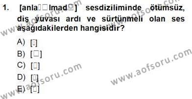 Türk Dili ve Edebiyatı Bölümü 6. Yarıyıl Genel Dilbilim II Dersi 2015 Yılı Bahar Dönemi Ara Sınavı 1. Soru