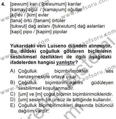 Türk Dili ve Edebiyatı Bölümü 6. Yarıyıl Genel Dilbilim II Dersi 2015 Yılı Bahar Dönemi Ara Sınavı 4. Soru