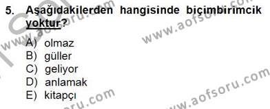 Türk Dili ve Edebiyatı Bölümü 6. Yarıyıl Genel Dilbilim II Dersi 2015 Yılı Bahar Dönemi Ara Sınavı 5. Soru