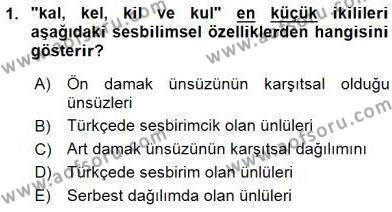 Türk Dili ve Edebiyatı Bölümü 6. Yarıyıl Genel Dilbilim II Dersi 2016 Yılı Bahar Dönemi Ara Sınavı 1. Soru