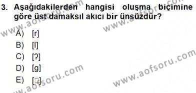 Türk Dili ve Edebiyatı Bölümü 6. Yarıyıl Genel Dilbilim II Dersi 2016 Yılı Bahar Dönemi Ara Sınavı 3. Soru