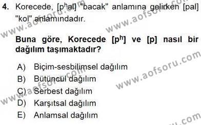 Türk Dili ve Edebiyatı Bölümü 6. Yarıyıl Genel Dilbilim II Dersi 2016 Yılı Bahar Dönemi Ara Sınavı 4. Soru