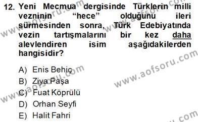 II. Meşrutiyet Dönemi Türk Edebiyatı Dersi 2014 - 2015 Yılı (Final) Dönem Sonu Sınavı 12. Soru
