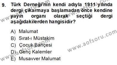 II. Meşrutiyet Dönemi Türk Edebiyatı Dersi 2014 - 2015 Yılı (Final) Dönem Sonu Sınavı 9. Soru