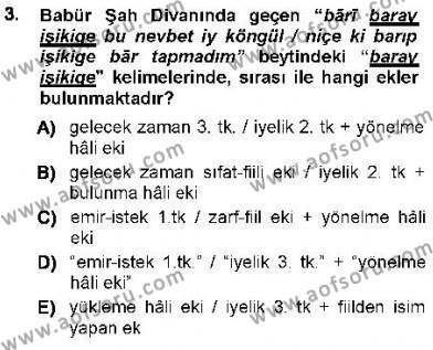 Türk Dili ve Edebiyatı Bölümü 7. Yarıyıl XVI-XIX. Yüzyıllar Türk Dili Dersi 2013 Yılı Güz Dönemi Ara Sınavı 3. Soru