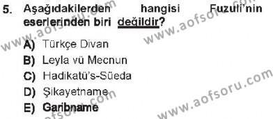 Türk Dili ve Edebiyatı Bölümü 7. Yarıyıl XVI-XIX. Yüzyıllar Türk Dili Dersi 2013 Yılı Güz Dönemi Tek Ders Sınavı 5. Soru