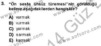 Türk Dili ve Edebiyatı Bölümü 7. Yarıyıl XVI-XIX. Yüzyıllar Türk Dili Dersi 2014 Yılı Güz Dönemi Dönem Sonu Sınavı 3. Soru