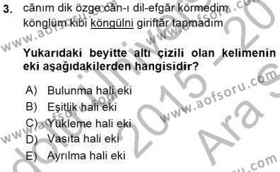 Türk Dili ve Edebiyatı Bölümü 7. Yarıyıl XVI-XIX. Yüzyıllar Türk Dili Dersi 2016 Yılı Güz Dönemi Ara Sınavı 3. Soru