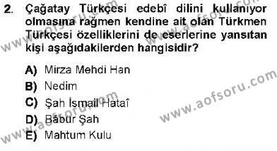 XVI-XIX. Yüzyıllar Türk Dili Dersi 2012 - 2013 Yılı (Vize) Ara Sınav Soruları 2. Soru