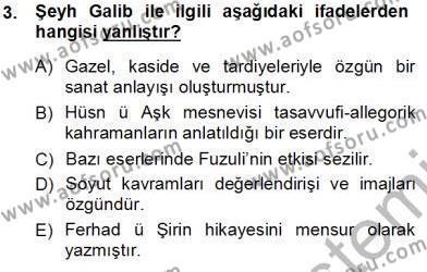 XVI-XIX. Yüzyıllar Türk Dili Dersi 2013 - 2014 Yılı Tek Ders Sınav Soruları 3. Soru