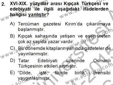XVI-XIX. Yüzyıllar Türk Dili Dersi 2014 - 2015 Yılı (Vize) Ara Sınav Soruları 2. Soru