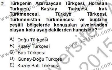 XVI-XIX. Yüzyıllar Türk Dili Dersi 2014 - 2015 Yılı Dönem Sonu Sınavı 2. Soru