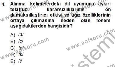 XVI-XIX. Yüzyıllar Türk Dili Dersi 2014 - 2015 Yılı Dönem Sonu Sınavı 4. Soru