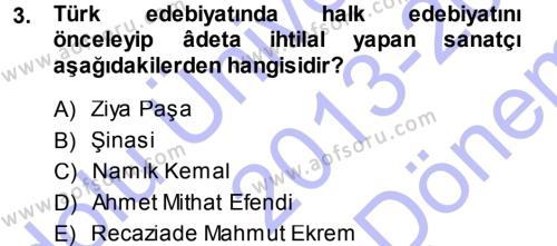 Türk Dili ve Edebiyatı Bölümü 7. Yarıyıl Eleştiri Tarihi Dersi 2014 Yılı Güz Dönemi Dönem Sonu Sınavı 3. Soru