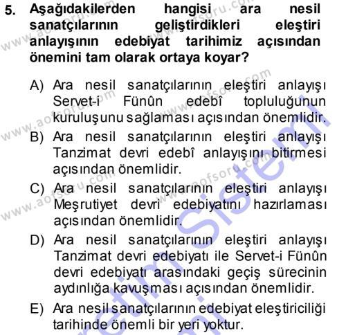Türk Dili ve Edebiyatı Bölümü 7. Yarıyıl Eleştiri Tarihi Dersi 2014 Yılı Güz Dönemi Dönem Sonu Sınavı 5. Soru