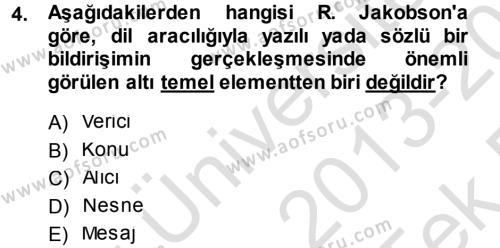 Eleştiri Tarihi Dersi 2013 - 2014 Yılı Tek Ders Sınav Soruları 4. Soru