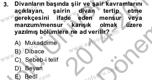 Türk Dili ve Edebiyatı Bölümü 7. Yarıyıl Eleştiri Tarihi Dersi 2015 Yılı Güz Dönemi Dönem Sonu Sınavı 3. Soru