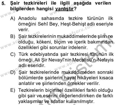 Türk Dili ve Edebiyatı Bölümü 7. Yarıyıl Eleştiri Tarihi Dersi 2015 Yılı Güz Dönemi Dönem Sonu Sınavı 5. Soru