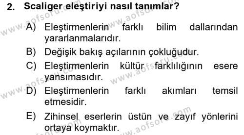 Türk Dili ve Edebiyatı Bölümü 7. Yarıyıl Eleştiri Tarihi Dersi 2016 Yılı Güz Dönemi Ara Sınavı 2. Soru