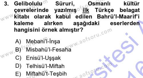 Türk Dili ve Edebiyatı Bölümü 7. Yarıyıl Eleştiri Tarihi Dersi 2016 Yılı Güz Dönemi Ara Sınavı 3. Soru