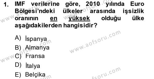 Dış Ticaret Bölümü 2. Yarıyıl Dış Ticarete Giriş Dersi 2014 Yılı Bahar Dönemi Ara Sınavı 1. Soru